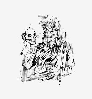 Mão de rei segurando uma caveira com um copo de vinho, ilustração vetorial.