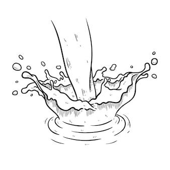 Mão de respingo de água ou leite desenhado