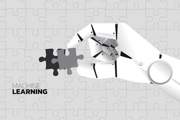 Mão de robô colocar o último quebra-cabeças para concluir.
