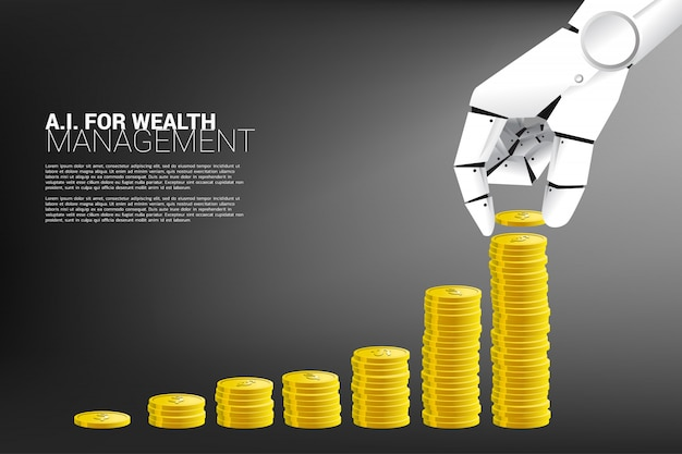 Mão de robô com gráfico de crescimento com uma pilha de moedas.