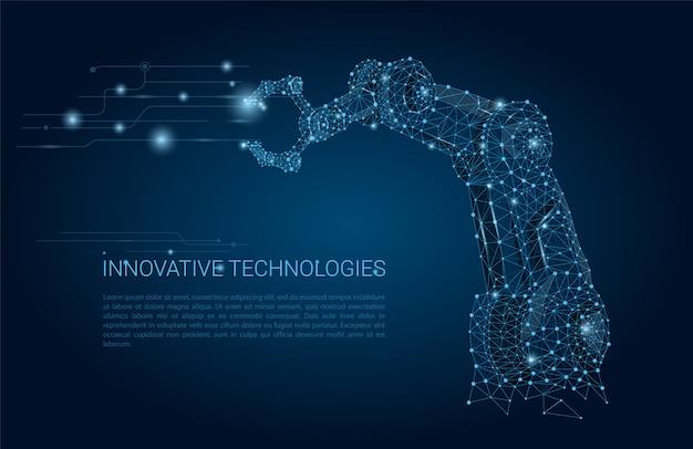Mão de robô de vetor. malha poligonal wireframe parece constelação em azul escuro com pontos e estrelas.