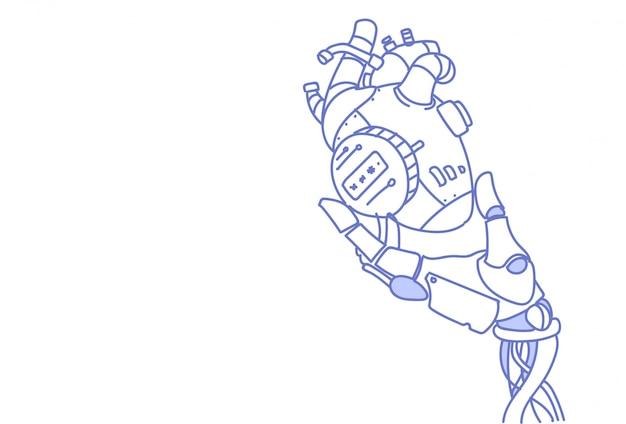 Mão de robô moderno segurando coração robótico de aço inteligência artificial assistência