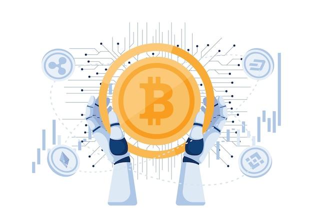 Mão de robô segurando bitcoin e outras criptomoedas. bot de negociação de criptomoedas e conceito de investimento em moeda digital.