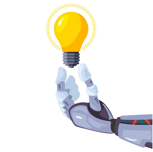 Mão de robô segurando uma lâmpada em uma tecnologia de idéia conceitual.