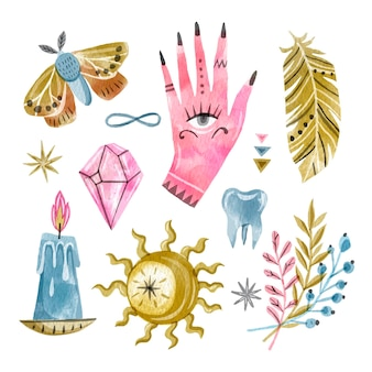 Mão-de-rosa com olhos e elementos esotéricos