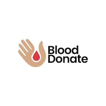 Mão de sangue doar gota cuidado doação doador logo ilustração vetorial