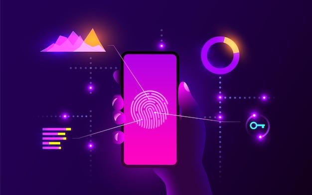 Mão de segurança de dados móveis segurando um smartphone móvel com scanner de impressão digital segurança de internet