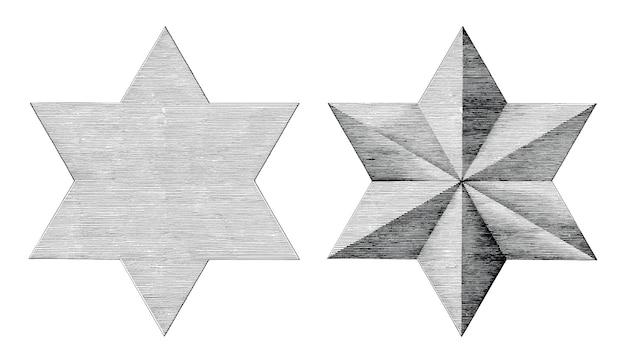 Mão de seis pontas estrela desenhar estilo vintage preto e branco