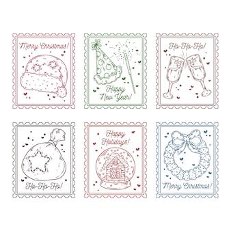 Mão de selos postais de natal desenhada