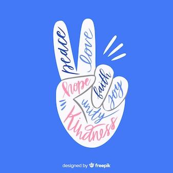 Mão de sinal de paz de letras