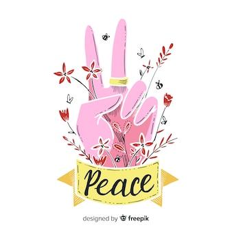 Mão de sinal de paz floral