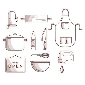 Mão de talheres e acessórios de cozinha desenhada