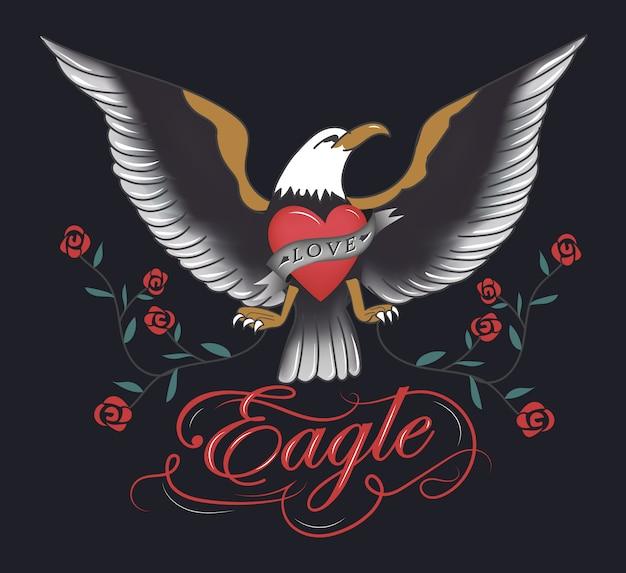 Mão de tatuagem de águia vintage desenhada