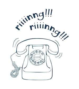 Mão de telefone vintage desenhado ilustração de linha. estilo de esboço