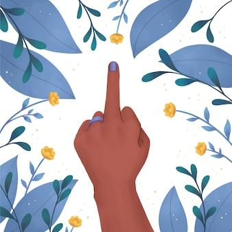 Mão de uma mulher mostrando o dedo médio com flores e folhas