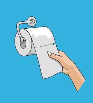 Mão de uma mulher puxar para cima com um rolo de lenço de papel, papel branco, ilustração vetorial de design colorido