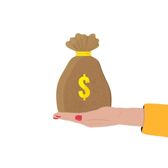 Mão de uma mulher segura um saco de dinheiro com cifrão. banco, conceito de investimento.