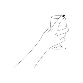 Mão de uma mulher segura uma taça de vinho em um estilo minimalista e moderno. ilustração em vetor moda do corpo feminino em estilo linear. belas artes para pôsteres, tatuagens, logotipos de lojas e bares