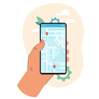 Mão de uma pessoa de desenho animado segurando um telefone celular com aplicativo de mapa