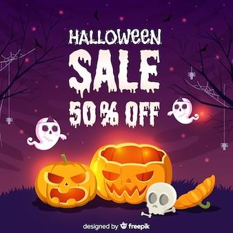 Mão de venda de halloween desenhada