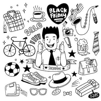 Mão de venda de sexta-feira negra desenhada, ilustração do conceito, elementos doodles.