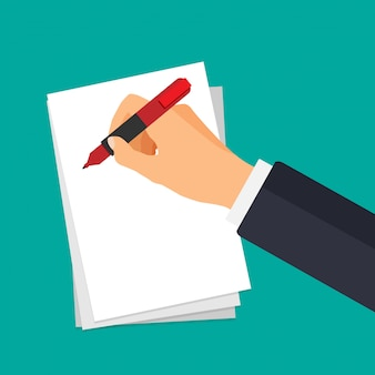 Mão de vetor com caneta de escrever em um papel. empresário assina documento.