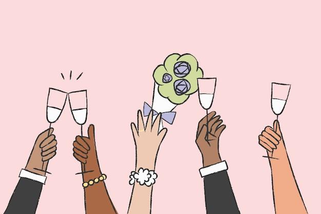 Mão de vetor de celebração de casamento segurando bebidas