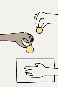 Mão de vetor de doodle de doação dando dinheiro
