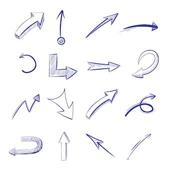 Mão de vetor desenhado setas curvas