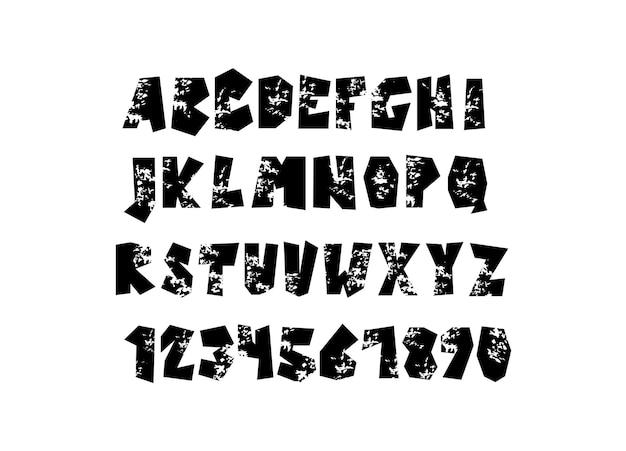 Mão de vetor desenhar a fonte do alfabeto de letras e números do grunge isolados no fundo branco