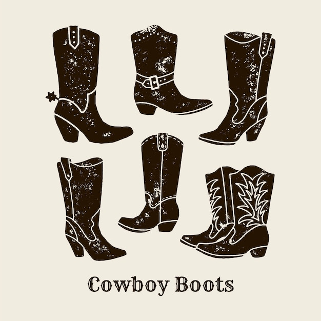 Mão de vetor desenhar ilustração de botas de cowboy em estilo retro. ícone isolado no fundo branco. elemento de design para pôster, folheto, cartão postal, web design, impressão de camiseta