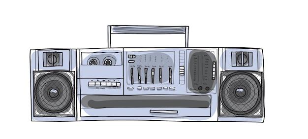Mão de vetor vintage cute rádio desenhada