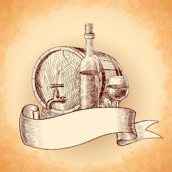 Mão de vinho desenhada