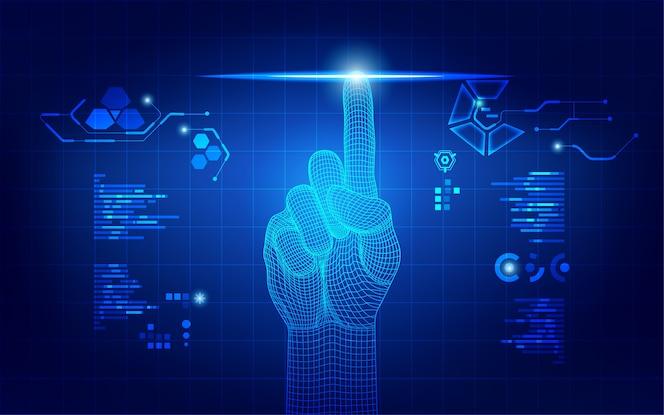 Mão de wireframe usando interface