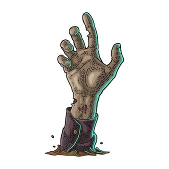 Mão de zumbi com garra vector cor vintage gravura para convite e pôster festa de halloween