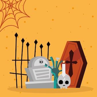 Mão de zumbi de halloween e desenho de túmulo, tema assustador