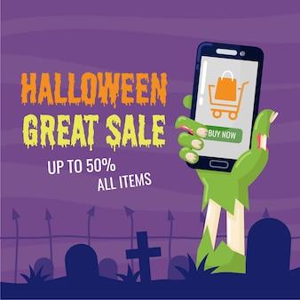 Mão de zumbi de halloween segurando o telefone móvel