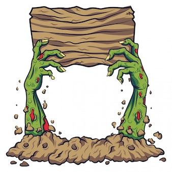 Mão de zumbi dos desenhos animados segurando placa de madeira