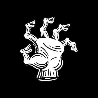 Mão de zumbi em fundo escuro
