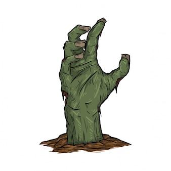 Mão de zumbi levantada da terra
