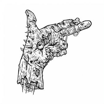 Mão de zumbi mão de arte de linha de desenho