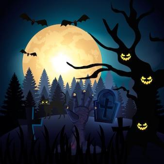 Mão de zumbi na noite escura e ilustração de cena de halloween