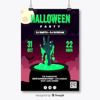 Mão de zumbi no cartaz da festa de halloween do caldeirão