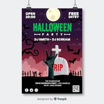 Mão de zumbi no cartaz da festa de halloween do cemitério