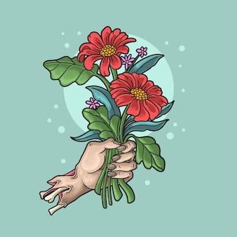 Mão de zumbi romântico traz flores