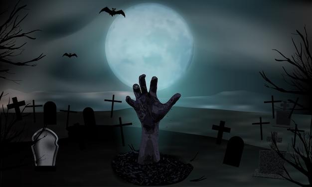 Mão de zumbi saindo do túmulo. cemitério com lápides e lua. fundo de halloween.