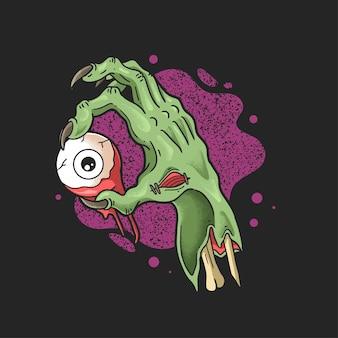 Mão de zumbi traz ilustração de olho