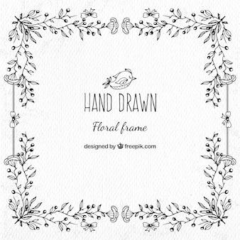 Mão decorativa floral desenhada