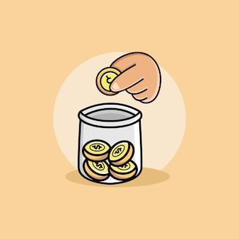 Mão depositando moedas em um desenho de jarra.