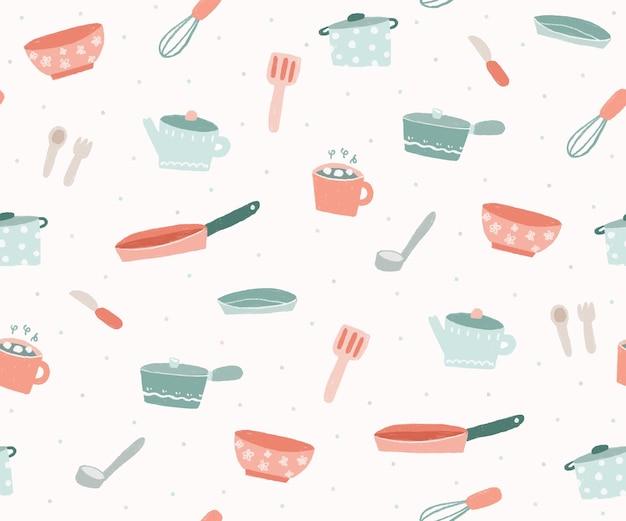 Mão desenha o fundo do padrão dos utensílios da cozinha